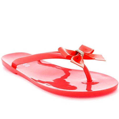Damen Sommer Urlaub Schlüpfen Schuhe Bogen Gelee Flip-Flops Sandalen Koralle