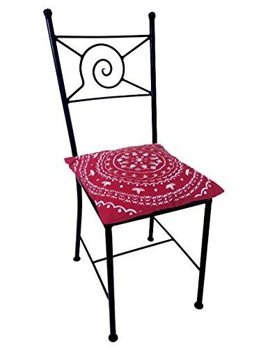 ORIGINAL Orientalischer Stuhl Gartenstuhl aus Metall Schwarz Navarra | Marokkanischer Balkonstuhl Inkl. Sitzkissen Stuhlkissen | Eisenstuhl als Bistrostuhl | Mediterrane Deko im Garten oder Balkon (Sitzkissen Rost)