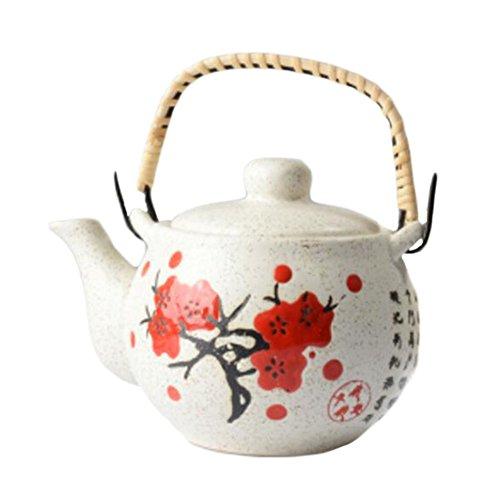 Black Temptation Tetera de Porcelana de Estilo japonés Exquisita Flor de Ciruela de Color Caqui