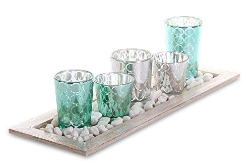 levandeo Tablett Teelichthalter Set 42,5x15x2cm Holz Glas Windlichter Deko Kerzenhalter