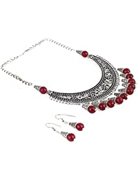 Aradhya Designer German Silver And Red Stone Beads Necklace With Earrings For Women And Girls