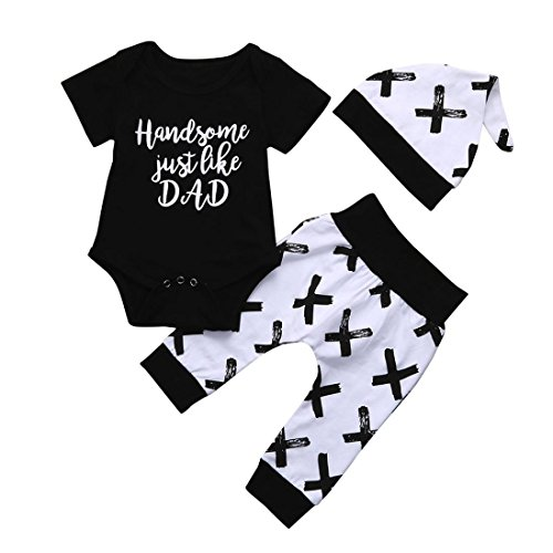 SHOBDW Boys Clothing Sets, 3PCS Newborn Baby Boy Cute Set Romper Tops+Long Pants Hat Outfits Clothes (0-3 Months, Short-Handsome Just Like Dad)