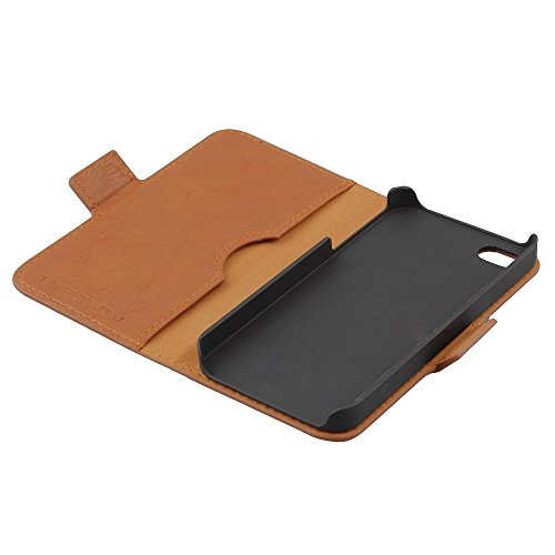 UTECTION cover iPhone SE / 5s / 5 vera pelle book-style leather case rigida Wallet - Custodia in vera vacchetta per iPhone SE / 5s / 5 caso a libro con porta carte di credito e banconote | Nero Cognac