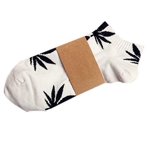 YAMALL Unkraut Blatt Muster Nr. Zeigen Socken für Mann Frauen Baumwollkurzschluss Socken Weiß schwarzes Blatt (Einfache Socken Muster)