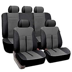 eSituro universal Auto Schonbezug Komplettset Sitzbezüge für Auto aus Kunstleder schwarz/grau SCSC0082