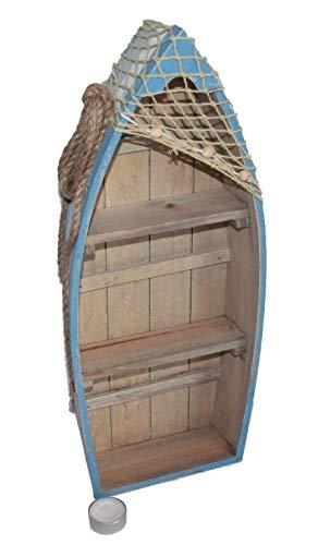 Asia Art Factory AAF Nommel®, Boot Regal 48 cm x 19 cm x 7 cm, Kiefernholz, Maritim Dekor im Shabby Look, Nr. 014 -