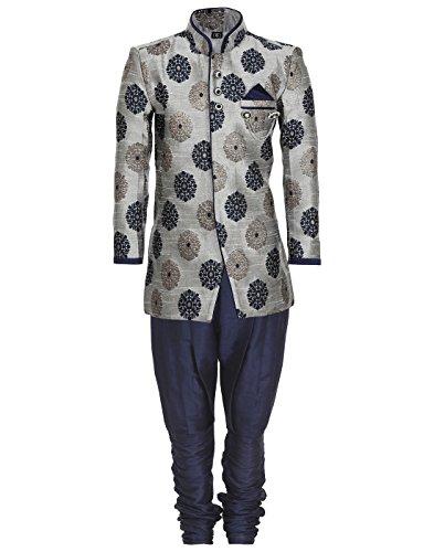 AJ Dezines Boys Indo Western Sherwani Suit for Kids (7001_GREY_1)