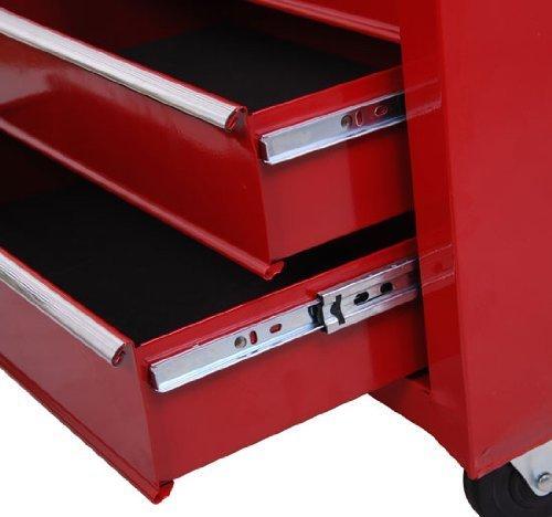 Homcom® Fahrbarer Werkstattwagen Werkzeugwagen Rollwagen Werkzeugkasten mit 5 Schubladen rot - 2