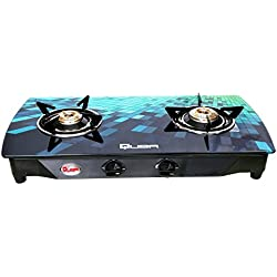 Quba B2 Blue Diamond Arc Digital Premium Glass 2 Burner Manual Gas Stove