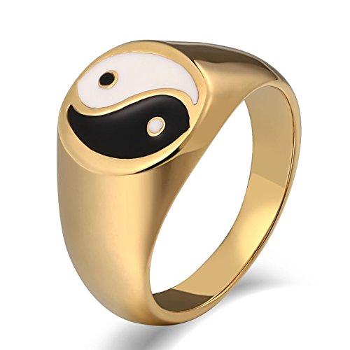 SonMo Stainless Steel Herren Ringe Siegelring Herren Zirkonia Bandring Herren Gold Signet Ring Band Ring Daumenring für Mann