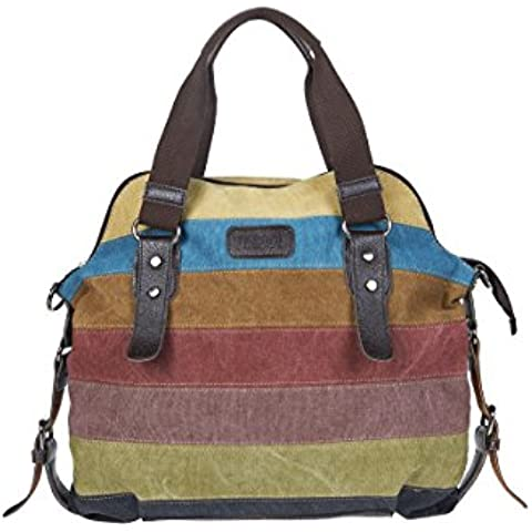 Unives Retro borsa a mano totes di tela Casual borsetta donna Borsa a tracolla per Shopping Traveller Extra Grande Hobo borsa a spalla shopper pelle con tracolla Multicolore