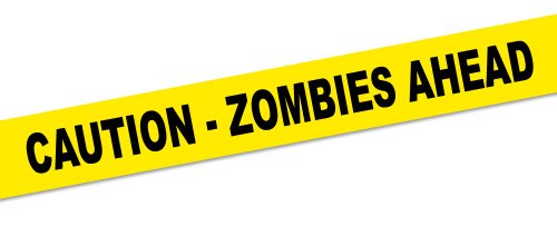 Absperrband CAUTION ZOMBIES AHEAD Halloween Party-Deko gelb-schwarz 1500x8cm Einheitsgröße