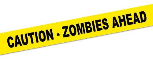 Absperrband Zombie (Absperrband CAUTION ZOMBIES AHEAD Halloween Party-Deko gelb-schwarz 1500x8cm)