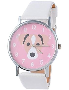SSITG Unisex Quarzuhr Armbanduhr Kinderuhr Analog Lederband Hund Watch Geschenk Gift
