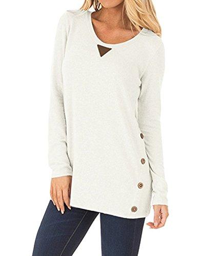 carinacoco Damen Langarmshirt Einfarbig Rundkragen Knöpfe T-Shirt Pullover Sweatshirt Oberteil Tops Weiß