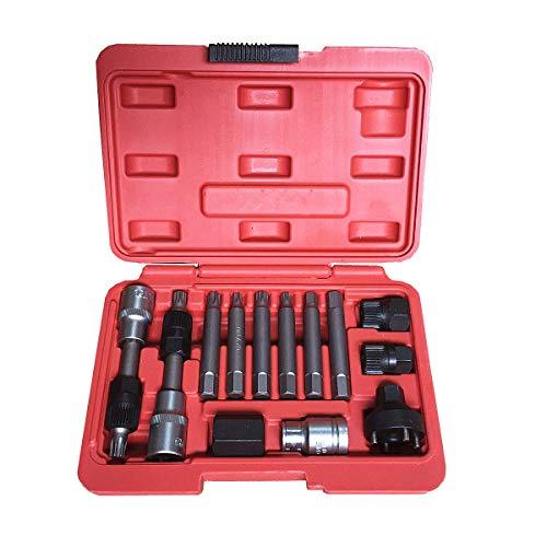 Best Q 13 Stück Lichtmaschine Freilauf Umlenkrolle Demontage Stecknuss Bit-Set Garage Service Werkzeug Kit