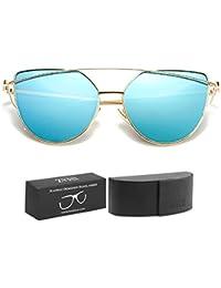 8935a6fca8d7 Cateye Mirrored Flat Lenses Street Fashion Metal Frame Women Sunglasses