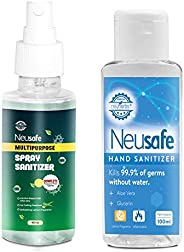 Neusafe On-the-Go Protection Kit - Instant hand rub alcohol based Hand sanitizer- 100ml + Multipurpose Alcohol