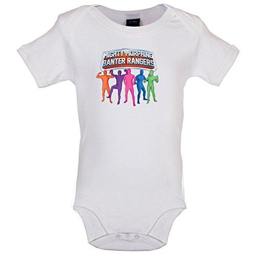 Dressdown Mighty Morph Rangers - Lustiger Baby-Body - Weiß - 12 bis 18 Monate