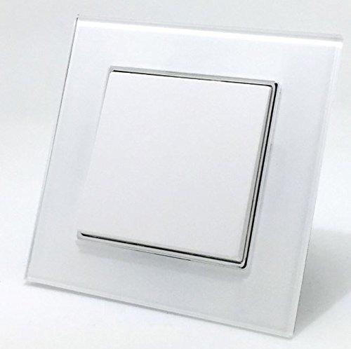 Glas Wechselschalter 1fach Floh weiß mit Glas Rahmen Edles Design