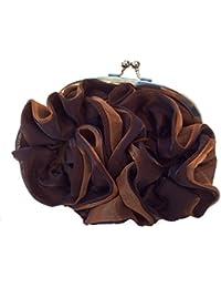 DIETZ Abendtasche mit Rosenmotiv Damentasche Handtasche braun 24x14x5cm