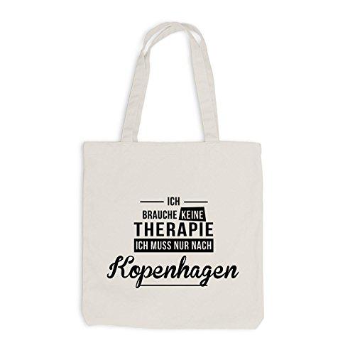 Jutebeutel - Ich Brauche Keine Therapie Kopenhagen - Therapy Urlaub Dänemark Beige
