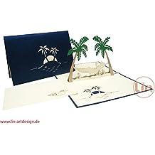 Tarjetas de felicitación Lin Pop Up 3d Tarjetas de felicitación ruherstandkarten Tarjetas de vacaciones, viaje, de cupones Palmeras Islas colgador Matte