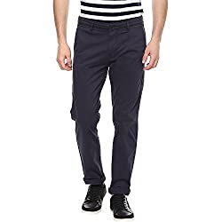 Spykar Mens Navy Slim Fit Mid Rise Trousers (Rico) (34)