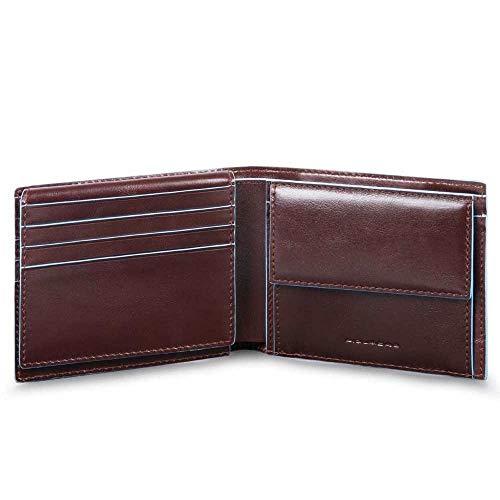 Piquadro Blue Square Wallet with Flip Mogano
