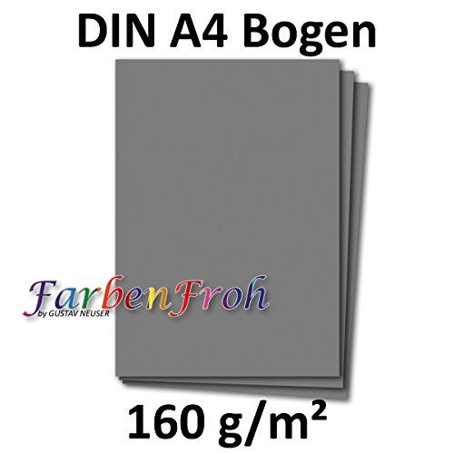 DIN A4 Papier Planobogen - Graphitgrau-Dunkelgrau | 50 Stück | 160 g/m² | Bastelbogen - Briefpapier - Bastelkarte | 210 x 297 mm | formstabil | Printable für Drucker geeignet | PREMIUM Qualitätsmarke: NEUSER FarbenFroh