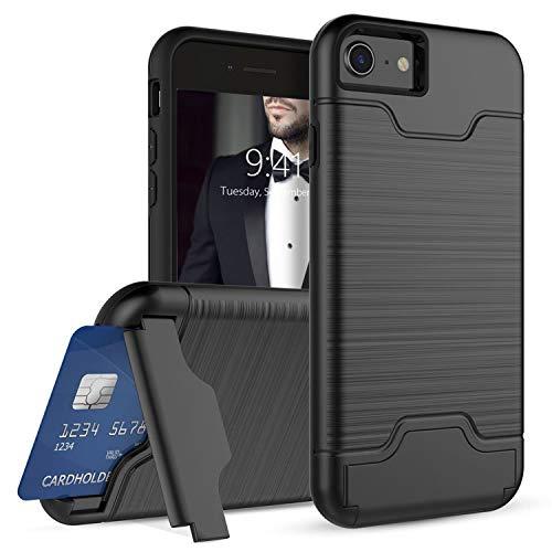 Ruida -eur iPhone 8 7 Hülle, Dual Layer Brushed Armor Case, Hybrid PC+TPU Silikon mit Kickstand mit Kartenfach Handyhülle Multi-Winkel Ständer 2 in 1 Schutzhülle (iPhone 8 7, Schwarz) -