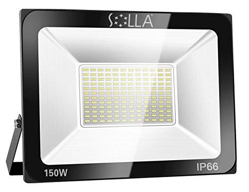 SOLLA Luz de Inundación de 150W LED,Luz de Seguridad para Exteriores, 800W Equiv., 6000K Luz del día blanco, 12000LM, Resistente al Agua IP66, Garantía de 24 Meses [Clase de Eficiencia Energética A +] …