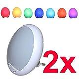 2 Stück - LED Nachtlicht Nachtlampe Orientierungslicht Lampe Leuchte mit Farbwechsel