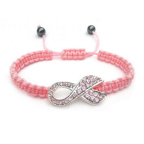 Bling Jewelry Rosa Kristall Brustkrebsüberlebender Bandschleife Geflochtene Schnur Verstellbare Armband Für Damen Versilberte -