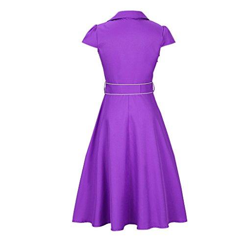 MNBS Femme Classique 1950S Style Ourlet A-ligne Élégant Robes Vintage Couleur Unie Violet