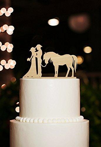 Silhouette Tortenaufsatz Cowboy Braut und Bräutigam für Hochzeitstorte Topper mit Pferd Rustikal Hochzeit Kuchen Topper and Dekoration