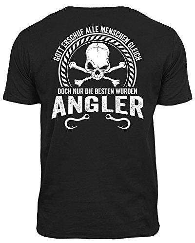 Outfitfaktur Gott erschuf Alle Menschen gleich Wurden Angler - Das Perfekte T-Shirt für Alle Angler & Fischer (L)