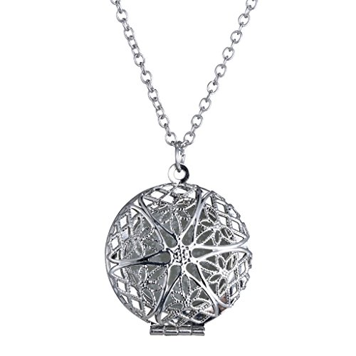 ELECTROPRIME Elegant 925 Silver Plated Photo Pendant Frame Hollow Locket Chain Necklace