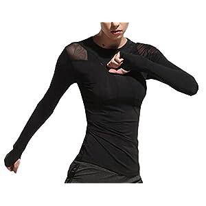 Gogofuture Damen Langarm-Shirt für Yoga Gym Laufen Sport T-Shirt Fast Dry Normallacks Optimal für Fitnessstudio Sportshirt
