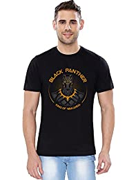 The Souled Store Black Panther: King Of Wakanda Superhero Printed Black Cotton T-shirt for Men Women and Girls.