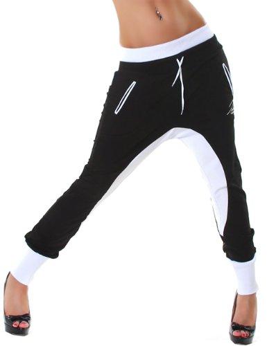 JELA London -  Pantaloni  - Donna Black - Schwarz Weiß