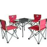 Yu&cw Outdoor Tavolo Pieghevole e Sedia Set Combinazione 4 sedie + 1 Tavolo Beach Sgabello Self-Driving Camping Picnic Portatile