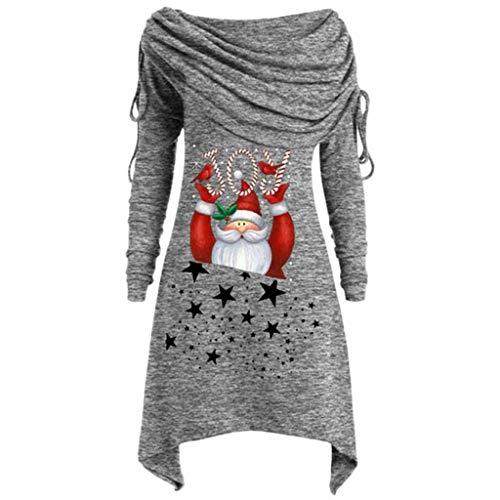 MOTOCO Damen Weihnachten Bluse Top Frauen Lange Weihnachtsmann Gedruckt Unregelmäßige Langarm Plissee Kragen One-Shoulder Pullover(5XL,Grau)