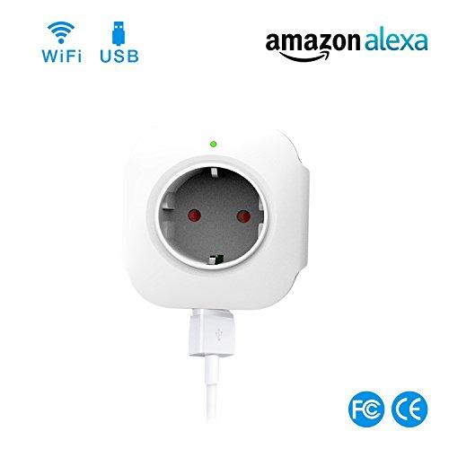 WiFi-Smart-Steckdose-WLAN-Smart-Plug-funktioniert-mit-Amazon-Alexa-und-Google-Home-USB-Port-Timing-Funktion-Fernbedienung-Ihre-Gerte-berallkein-Hub-erforderlich