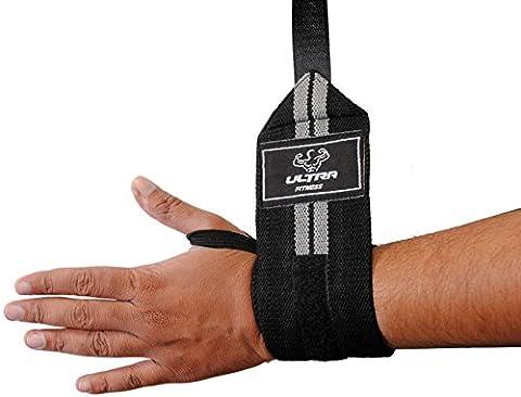 Ultra Poids Fitness® Power poignet de levage Wraps 45,7cm Long 7,6cm de large (ne pas 35,6cm Longueur comme vous pouvez voir d'autres Vendeurs) prend en charge Musculation haltérophilie Body Building Gym Protéines vendu comme une paire et une taille pour tous les, gris