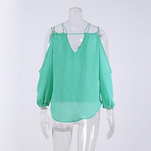 Smile YKK Chemise Epaule Nue Femme Mousseline de Soie T-shirt Col V Blosue Casual Top Eté Uni Vert