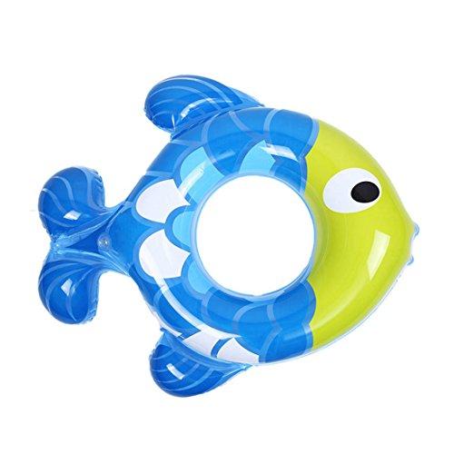 Supshark Lifebuoy Kinder aufblasbare Baby Fisch-förmigen Hals gepolsterten Schwimmring Baby Achselhöhlen Kreis (Blau)