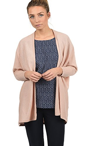 JACQUELINE de YONG by ONLY Eubia Damen Strickjacke Feinstrick Cardigan lang mit offenem Ausschnitt und Perlstrick-Muster aus 100% Baumwolle, Größe:XS, Farbe:Rose Smoke (Baumwolle Muster 100%)