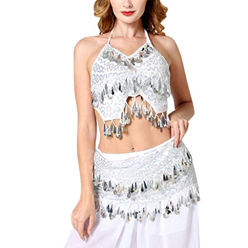 BfmyxgsKarneval Party Lagerfeuer Party Hot Female Bauchtanz Sexy Sling Halter Top + Taille Kette