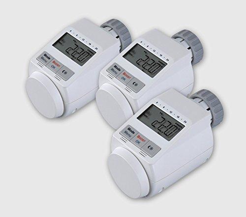 EQ-3 Elektronische Heizkörper-Thermostate 3er-Set individuell programmierbare Tages- und Wochensteuerung einfache Montage ohne Wasserablass leichte Einstellung von Temperatur, Heiz- und Sparzeiten